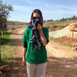 Marjorie after being tear gassed during a nonviolent demonstration in the village of Bi'lin. West Bank, Palestine